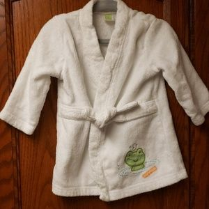 Carter's White Terry Robe with Frog
